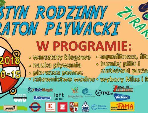 Festyn Rodzinny w 10-lecie Żyrardowskiego Powiatowego WOPR z Maratonem Pływackim nad Zalewem Żyrardowskim.